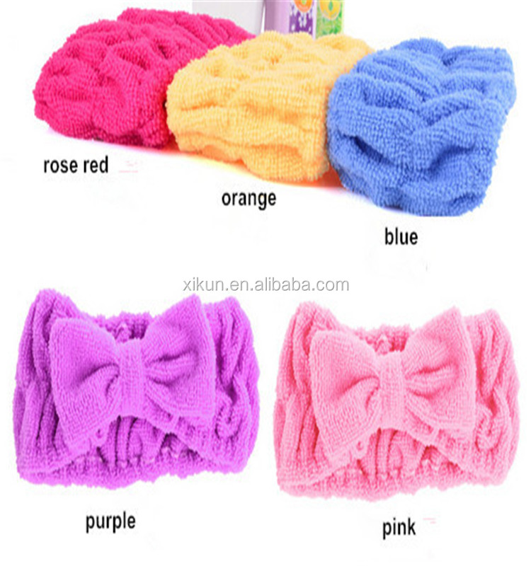 80% polyester and 20% nylon terry solid color microfiber towel soft elastic hair towel