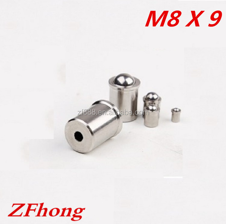 M8*9 stainless steel 304 smooth spring ball point plunger set <strong>screw</strong>