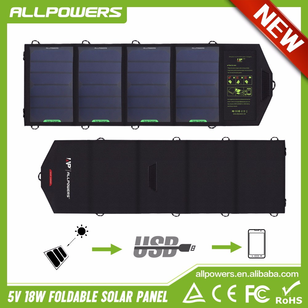 ALLPOWERS 5V 18W Solar Charger Portable Outdoor Solar Panel Battery for Mobile Phone Camera GPS Flashlight etc.