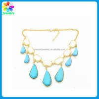 Colorful Blue Turquoise Beaded Y Bib Choker Collar 18K Gold Necklace fake gold jewelry necklace