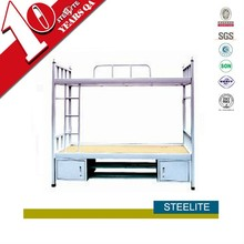 Customized hostel furniture cold roll steel plate bunk beds
