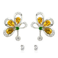 Earrings for women in floral design in 925 Sterling Silver Rhodium Plated