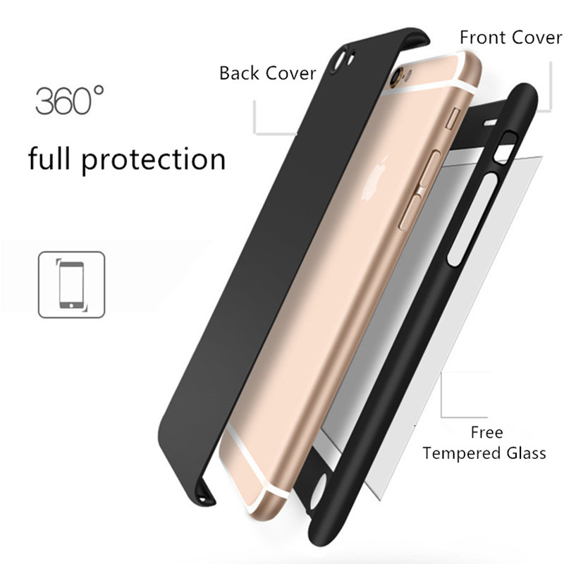 For Apple IPhone 8 360 degree full cover Cell Phone Case with screen protector