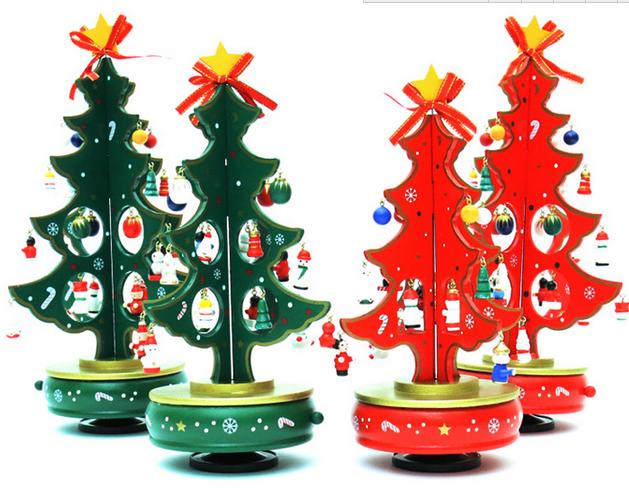 Christmas Decoration Tree Wooden Rotating