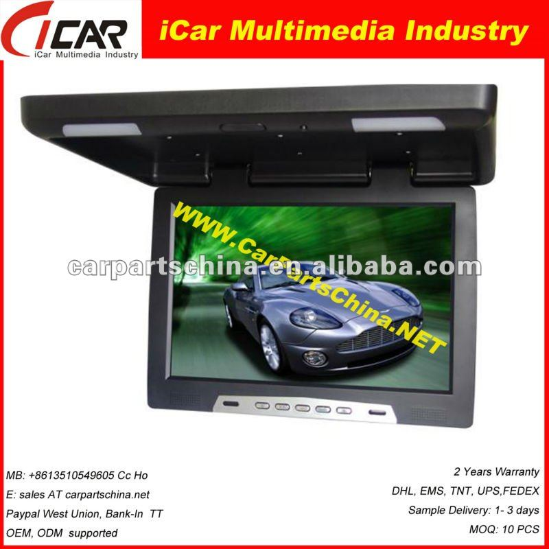 "Manufacture! 19"" 12v/24v optional FM IR USB/SD MP5 digital screen roof car led tv monitor"