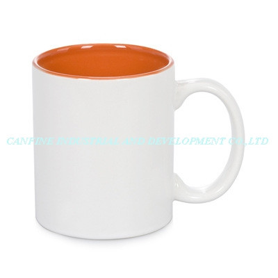 Stoneware Ceramic Type Orange Color inside Sublimation mug, 350ml Ceramic Material color sublimation mug