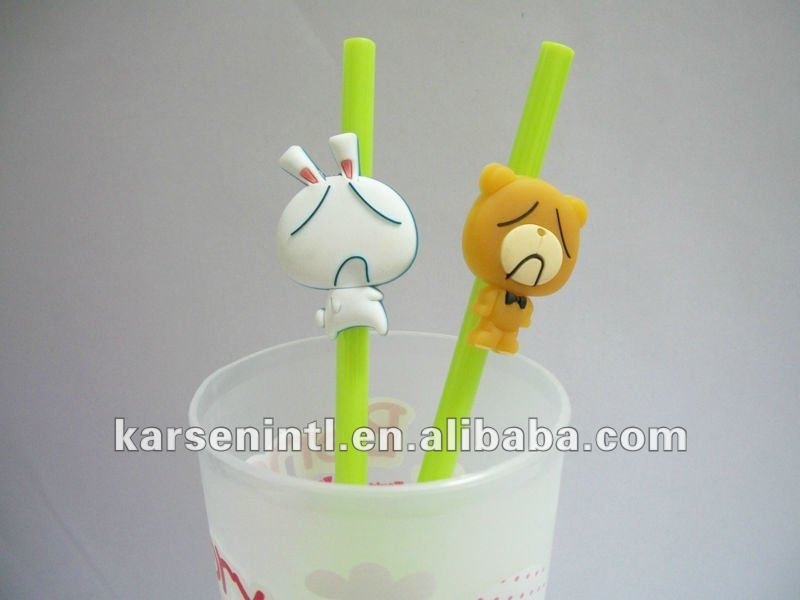 New Unique Emotion Bear figurine for drinking straw