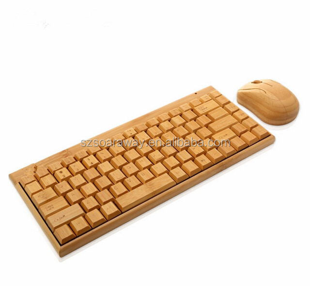 Creative bamboo computer keyboard set wholesale wireless keyboard and mouse