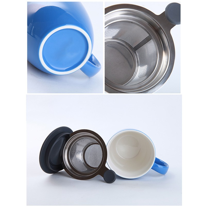 OEM and ODM custom factory directly made in china guangdong ceramic tea cup with stainless steel tea infuser and plastic lid