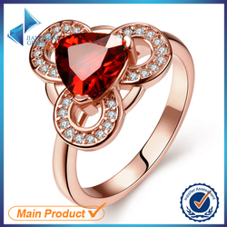 heart shape white stone jewlery design rose gold plated ring