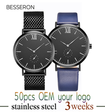 BESSERON 2017 hot sale quemex watches quartz water resistant high quality mens leather western wrist watches