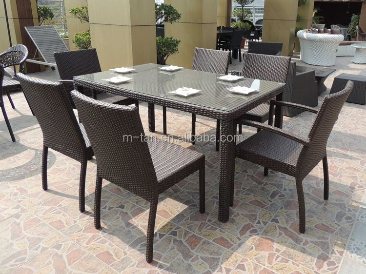 aluminium rahmen 6 seater rattan restaurant st hle satz rainning beweis garten gartenm bel set. Black Bedroom Furniture Sets. Home Design Ideas