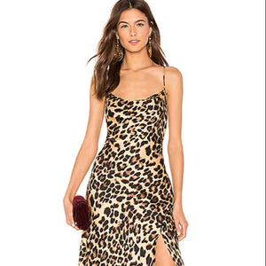Spring and summer women's sexy sling leopard print dress