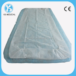 Disposable hospital white bed cover with elastic all around