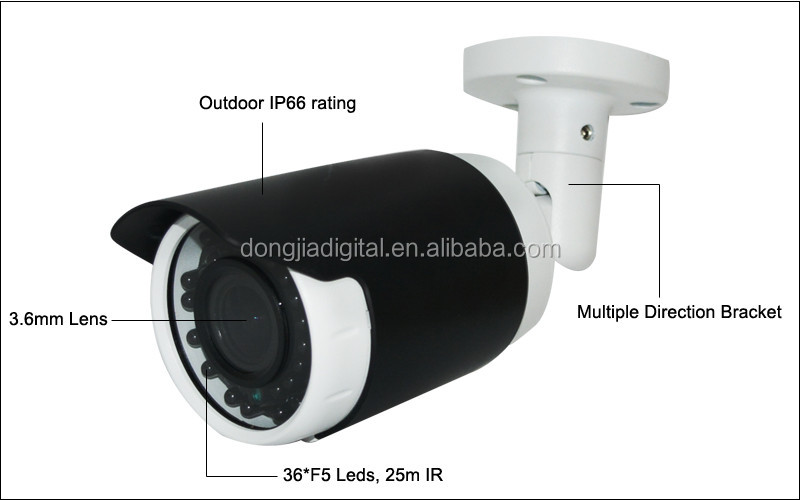 Hot Products 3.6mm Fixed Lens IR Night Vision Bullet Camera HD TVI