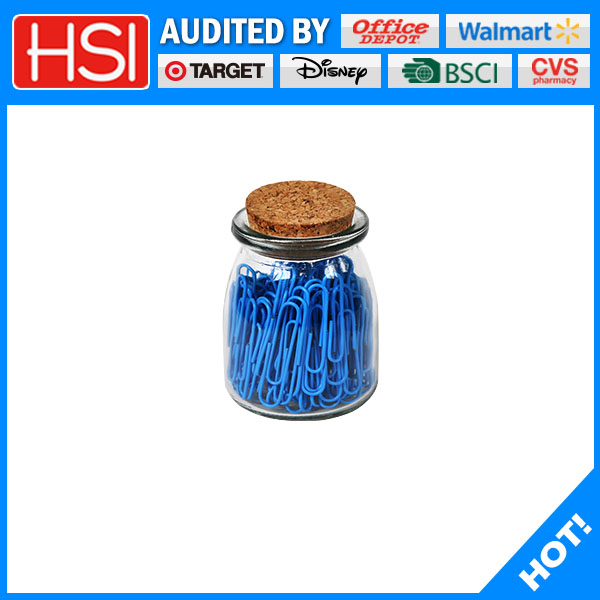 plastic coated paper clips in new packed glass bottles for promotion gifts with multi-color