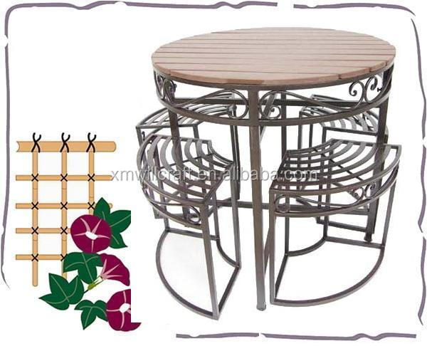 outdoor 1+4 table and chairs nesting wooden top Wrought Iron Bistro Sets