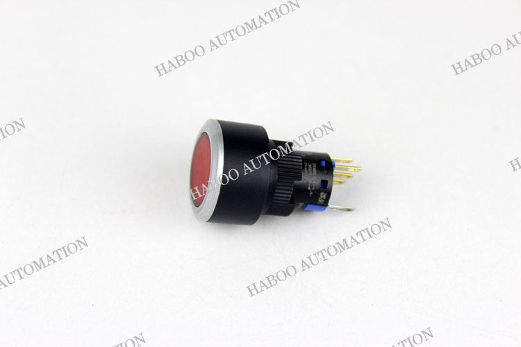 HBD16/22mm illuminated reset or latching push button switch untrathin fashion head led lighting switch 6V 12V 24V 110V 220V