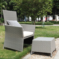 Modern Patio All weather proof resin wicker rattan lounge chair with hidden ottoman