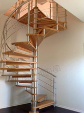 Customized Wooden Treads With Riser For Stainless Steel Railing Systems Small Spaces Spiral Staircase