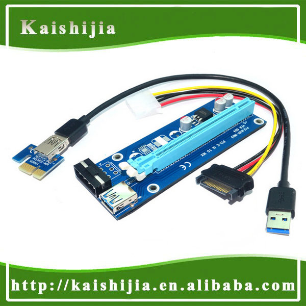 PCI-E PCI E Express 1X to 16X Riser Card +USB 3.0 Extender Cable with Power Supply for Bitcoin Litecoin Miner 60CM