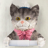 Modern lady cat housekeeper resin free standing toilet paper holder