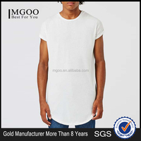 MGOO Custonized Blank Private Label T-shirts Cheap Cotton Tee Shirts Long Line Curved Hem T-shirt