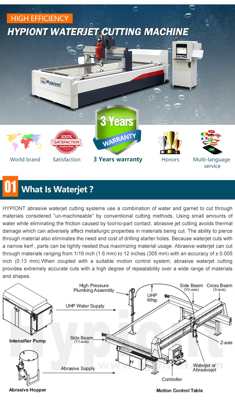5 axis waterjet machine with CE TUV ISO9001 certifications and 3 Years warranty