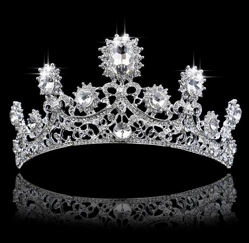 Glittery Crystal Princeness Tiaras Hair Clips Full Diamante Luxury CZ Diamond Crown hair Jewelry Bridal Wedding Hair Accessories