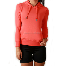 Gym Clothing Active Women's Spandex Orange Pullover Sports Hoodie