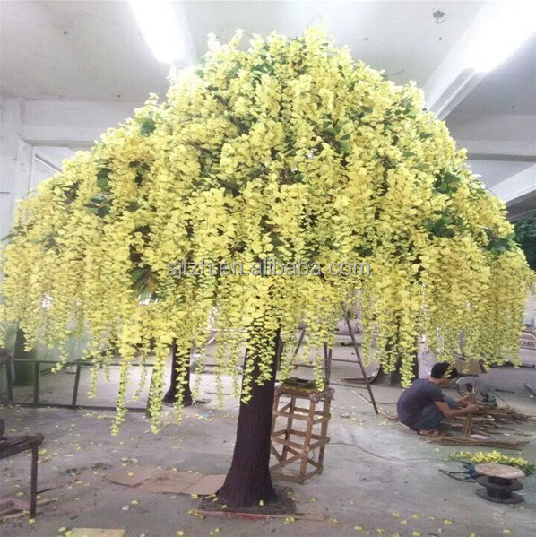 Falling yellow artificial flower tree for wedding flourish wisteria tree