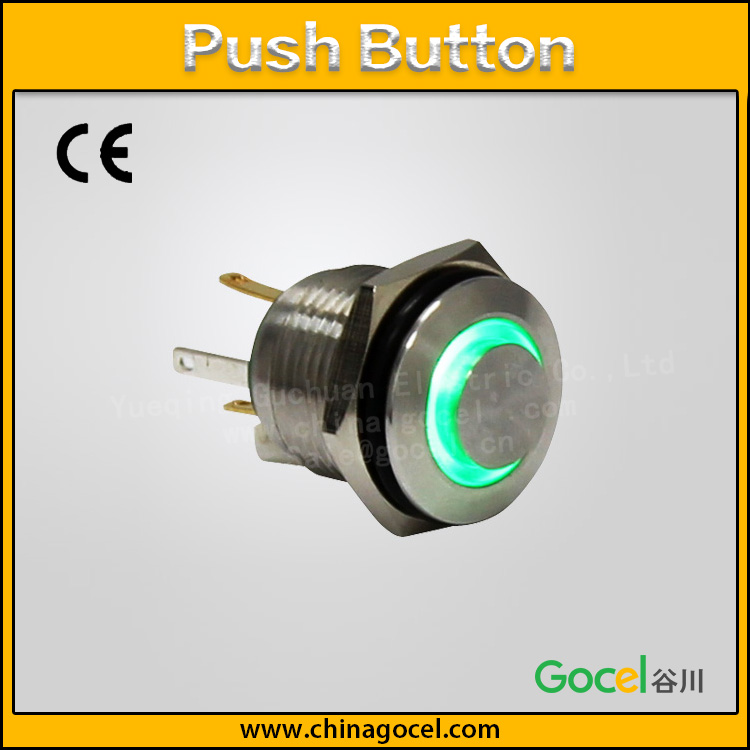 16mm momentary normally open <strong>switch</strong>,ring green LED illuminated button,SPST push button GQ16H-10EZ/J/S