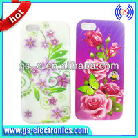 flower case for iphone 4+PC mobile phone case+water transfer+customized logo printing