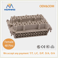 HDC HE-048-F, Industrial Copper Alloy Material 48 Pins Current16A Waterproof Ethernet Connector ,Female Screw Terminal