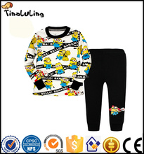 children's minions print baby sleepwear boys 2pcs long sleeved pajamas sets