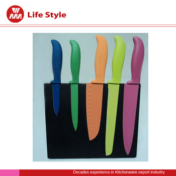 Hot selling 5 Pcs color non-stick Knife set with black magnet stand
