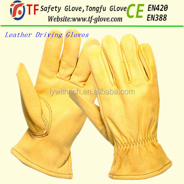 EN388 Deerskin full palm grain leather safety work gloves