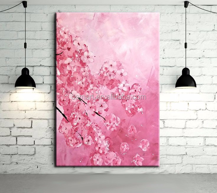 Skills Artist Hand-pianted High Quality Modern Abstract Pink Flower Sakura Oil Painting on Canvas Beautiful Pink Oil Painting