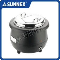 SUNNEX Hot Sale Classic Black Polypropylene Body Stainless Steel Water Jacket Buffet Service 10Ltr. Electric Soup Warmer