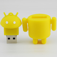 High quality promotional low cost mini soft silicone full color robot usb memory flash drive