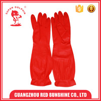 Red long sleeve latex rubber household kitchen gloves