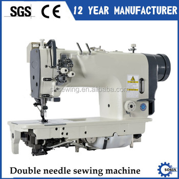 Auto thread large hook split needle bar double needle sewing machine for jean