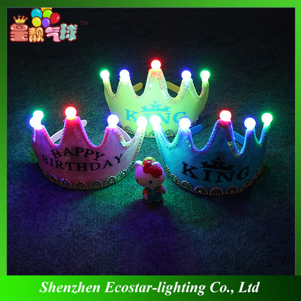 Christmas children Party LED light crown princess king birthday party boys girls hat cap Flash Sparkle hair hoop headband gifts
