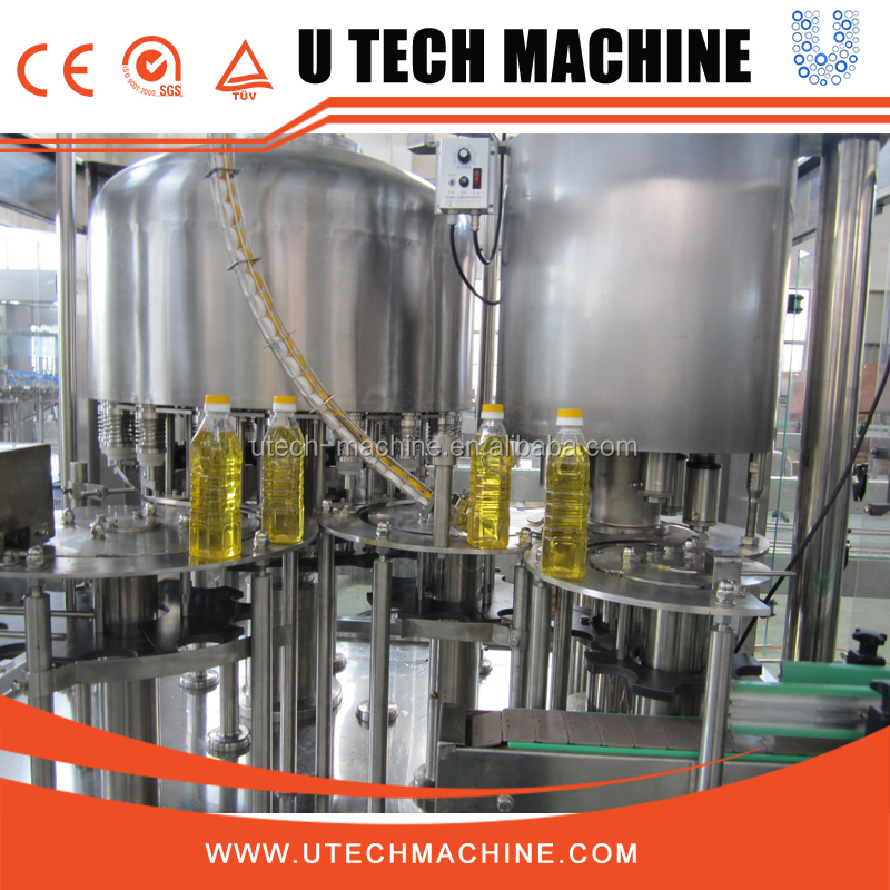 Automatic vegetable oil bottle filling and capping machine