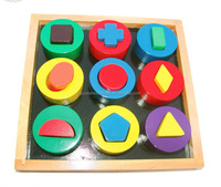 EZ1019 Geometric Shapes Teaching Resource Wooden Educational Blocks