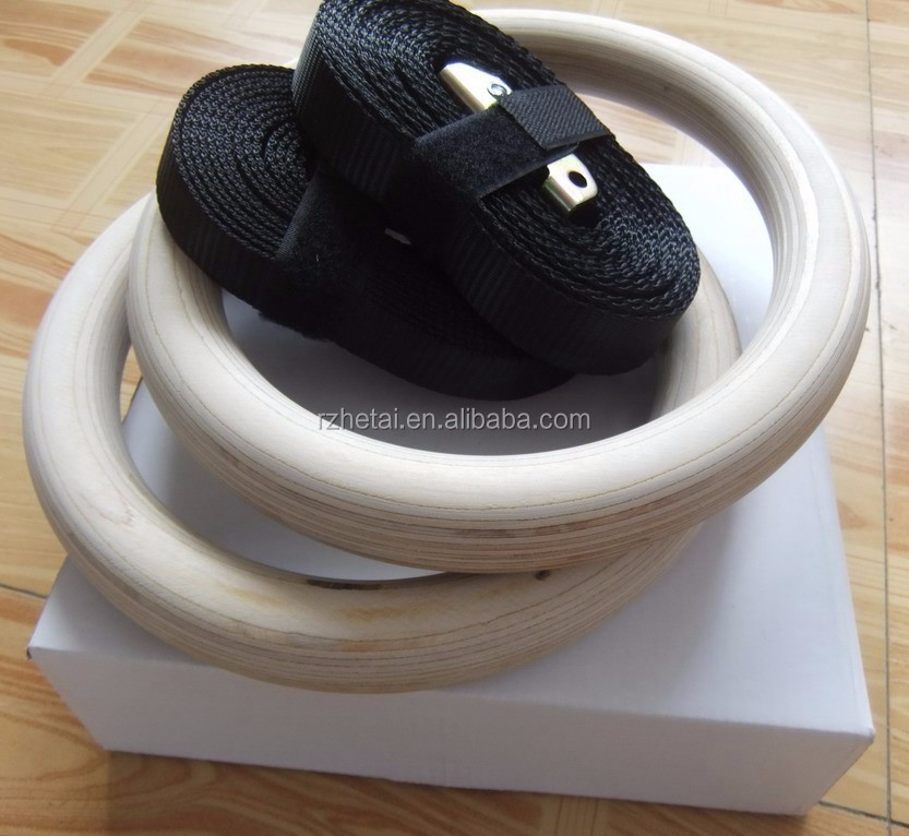 300kg pro quality wooden gym ring with 4.5m nylon strap
