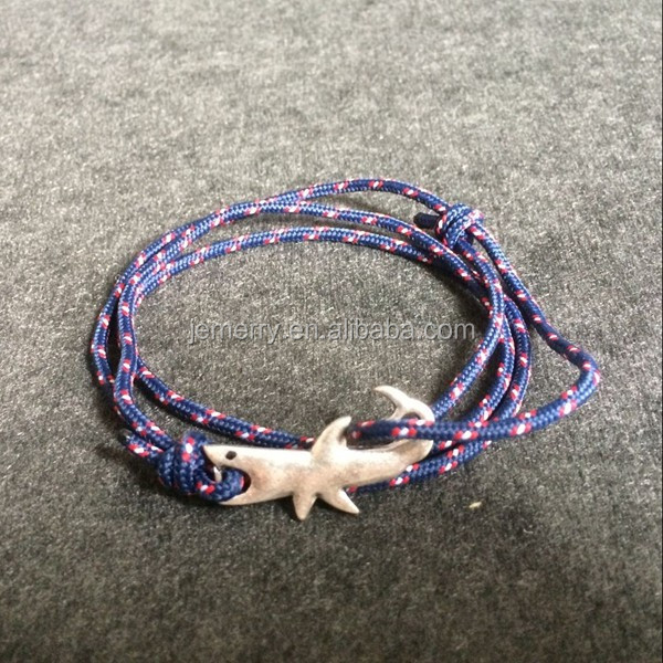 Charm Trendy Multicolor Men Shark Bracelet Solid Silver Zinc Alloy Punk Style Jewelry With Rope