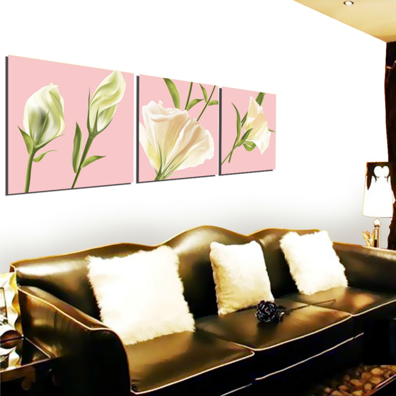flower design three units frame painting for living decoration