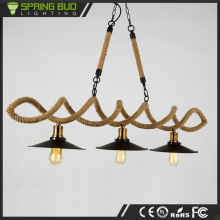 Antique retro Restaurant coffee shop metal hemp rope pendant light lamp