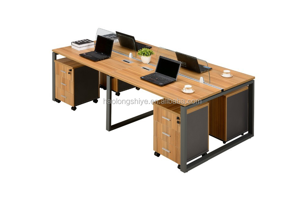Best quality wooden top steel frame four people staff desk office desk